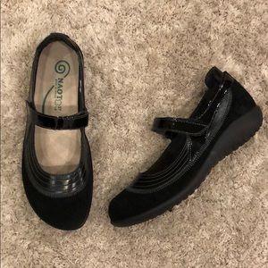 "NAOT ""Kirei"" Black Suede Leather Mary Jane Flat"